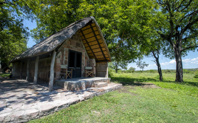 stone chalet at bumbusi wilderness camp in hwange national park